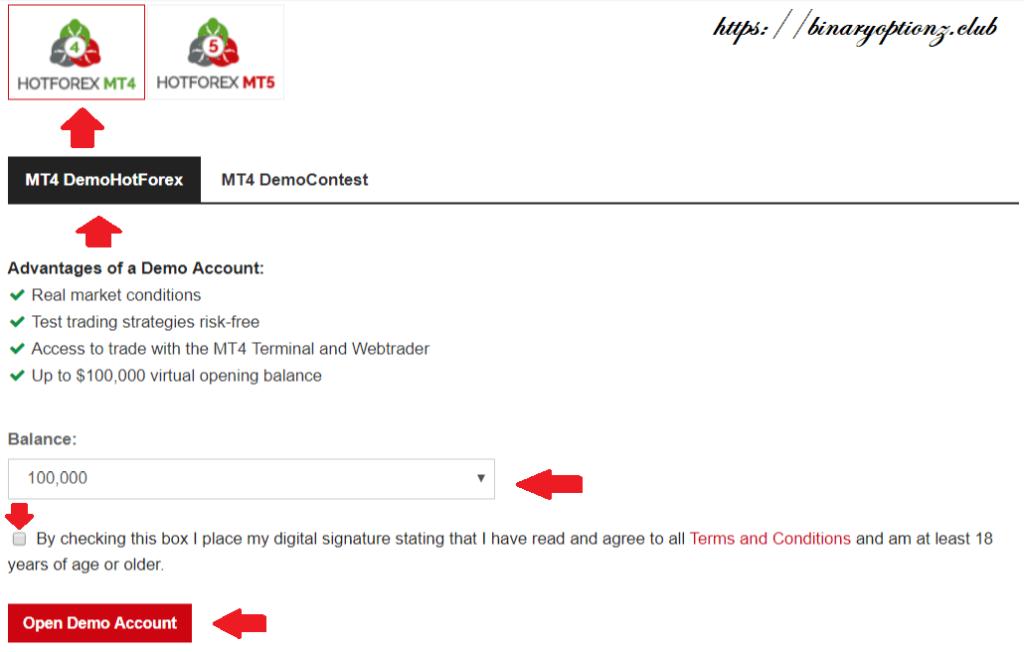 ساخت حساب دمو در هات فارکس Hot Forex